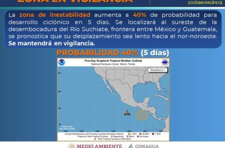 Zona de inestabilidad con 40% de probabilidad de convertirse en ciclón en el Pacífico