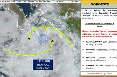Hernán, por tocar tierra en BCS, pronostican lluvias para Sinaloa