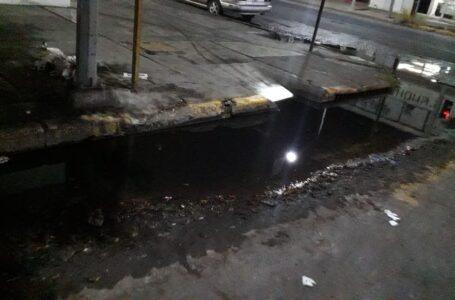 Denuncian brote de aguas negras en centro de Los Mochis